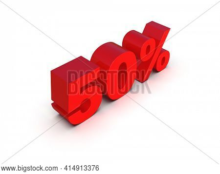 3d Illustration: Percent Sign, Red 50% Percent Discount 3d Sign on White Background, Special Offer 50% Discount Tag, Sale Up to 50 Percent Off, FiftyPercent Letters Sale Symbol, 3DDigitforPromo