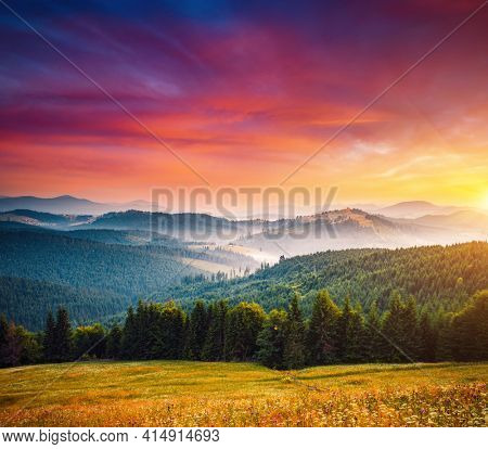 Spectacular summer sunset scene in the mountains with perfect sky. Location place Carpathian mountains, Ukraine, Europe. Vibrant photo wallpaper. Wild protected area. Discover the beauty of earth.