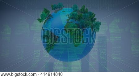 Composition of people's silhouettes and data processing over globe with trees. global technology, business, connection, environment and networking concept digitally generated image.
