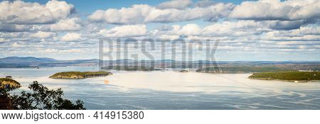 Scenic elevated view of Acadia National Park coasline and islands
