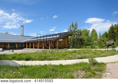GRAND TETON NATIONAL PARK, WYOMING - JUNE 26, 2017: Craig Thomas Discovery Visitor Center. The visitor center is open from early March until the beginning of November.