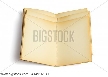 Three Old Open Note Books on White Background