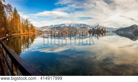 view of Lake Bled  island  castle and town, Slovenia