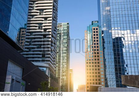 TORONTO, CANADA - JUNE 22. 2019: Toronto city has 67 skyscrapers over 150 meters tall and 31 buildings are under construction.
