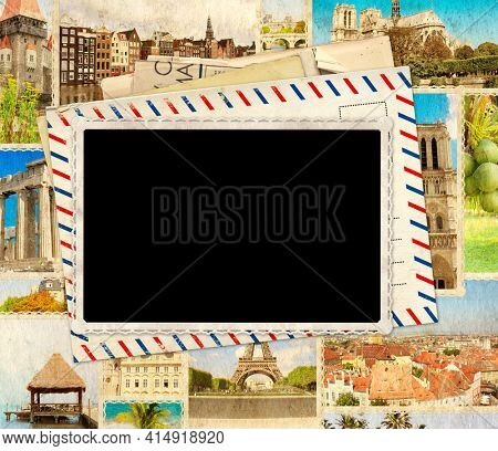 Vintage travel background with retro post cards and blank photo. Grunge old paper texture. Mock up template. Copy space for text. 3d render