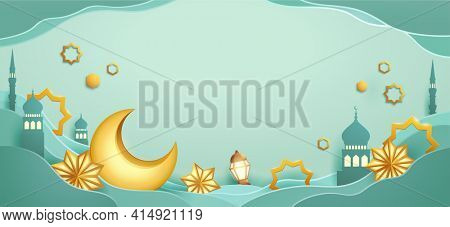 Paper graphic of islamic festival design with crescent moon and islamic decorations.