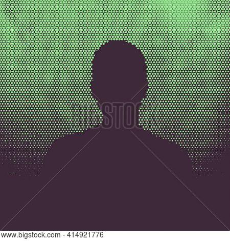 Man silhouette, halftone illustration with deep purple hexagon pattern on green background