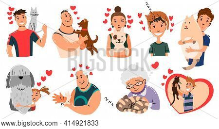 People and pets. Cat, dog and rabbit pet owner characters. Man and womans holding on hands his animals. Peoples love his animals. Cute and adorable domestic animals