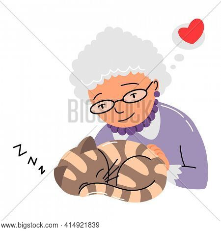 People and pet. Cat pet owner character. Owner petting your cat. Old woman love their animal. Cute and adorable domestic animal