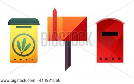 Mailbox. Mail box  post or postal letterbox of American or European mailing and set of postboxes for delivery mailed letters