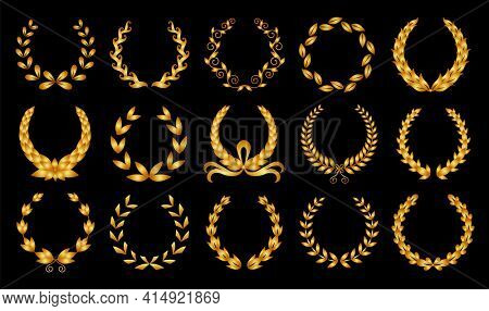 Golden laurel wreath. Collection of different black circular laurel, olive, wheat wreaths depicting an award, achievement, heraldry, nobility.  premium insignia, traditional victory symbol