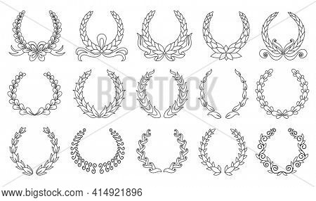 Laurel wreath. Collection of different black circular laurel, olive, wheat wreaths depicting an award, achievement, heraldry, nobility.  premium insignia, traditional victory symbol