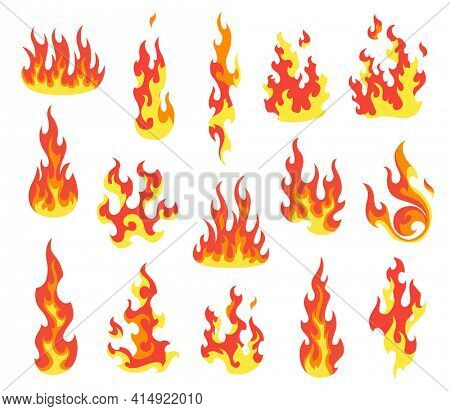 Set of red and orange fire flame. Flames of different shapes. Fireball set, flaming symbols. Idea of energy and power. Collection of hot flaming element.  icons in cartoon style