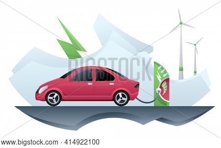 Electric car taxi. Electric car taxi charging on charger station. Online taxi and windmill alternative energy. EV vehicle plugged getting electricity from renewable power generations wind turbine