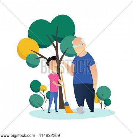Social worker taking care about seniors people. Volunteer young people help elderly man sweep the yard.  flat cartoon illustration