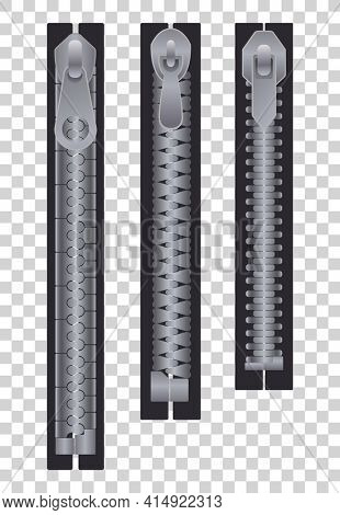 Metal or plastic fasteners, zippers. Fastener and zipper isolated, zippered accessories illustration. Set of silver metallic closed zippers on transparent background