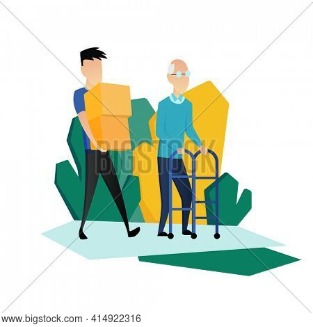 Social worker taking care about seniors people. Volunteer young people help elderly man carry boxes.  flat cartoon illustration
