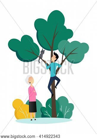 Social worker taking care about seniors people. Volunteer young people help elderly woman remove a cat from a tree.  flat cartoon illustration