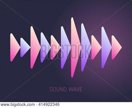 Color sound wave. Audio digital equalizer technology, musical pulse  Illustration. Voice line waveform or volume level symbol. Curve radio wave