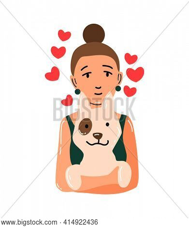People and pet. Dog pet owner character. Owner hugging dog. Girl love their animal. Cute and adorable domestic animal