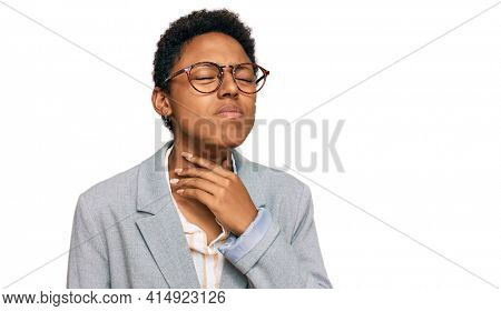 Young african american woman wearing business clothes touching painful neck, sore throat for flu, clod and infection