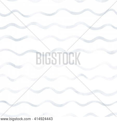 Striped background. Wavy pattern.   Watercolor seamless background. Gray and white texture. Abstract waves in indigo colors.