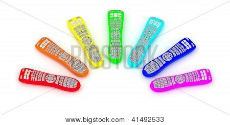 Remote Controls Of Rainbow Colors