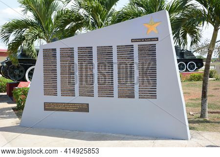 PLAYA GIRON, CUBA - JULY 24, 2016: The Bay of Pigs Museum. Plaque with the names of the fallen in front of the museum dedicated to the failed 1961 invasion.