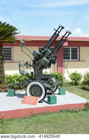 PLAYA GIRON, CUBA - JULY 24, 2016: The Bay of Pigs Museum. Artillery piece in front of the museum dedicated to the failed 1961 invasion.