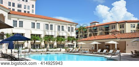 CORAL GABLES, FLORIDA - JULY 20, 2016: Pool Hyatt Regency. The Mediterranean style resort was designed to replicate the Alhambra Palace in Spain.