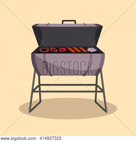 Barbecue or grillbarbecue. Picnic camping cooking. BBQ party. Traditional cooking food, restaurant menu icon. Grill on hot coals. Charcoal grills with delicious grilled meat and sausages