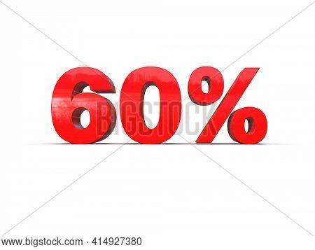 3d Illustration: Sixty 60 Percent Sign, Economic Crisis, Financial Crash, Red 60% Percent Discount 3d Sign on White Background, Special Offer 60% Discount Tag, Sale Up to 60%