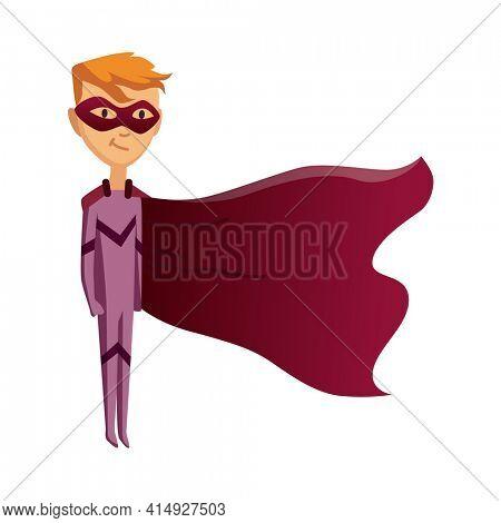 Cartoon superhero kid character. Joyful kid wearing super hero costume with mask and comic cloak for brave recreation. Isolated on white background