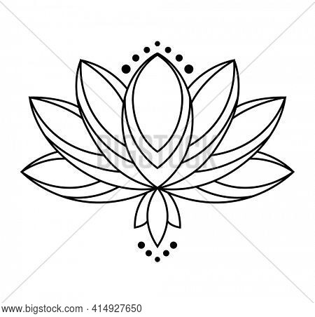 Lotus icon. Monochrome blooming flower. Black linear petals of plant on white background. Blossom, aquatic plant  element for web. Coloring style