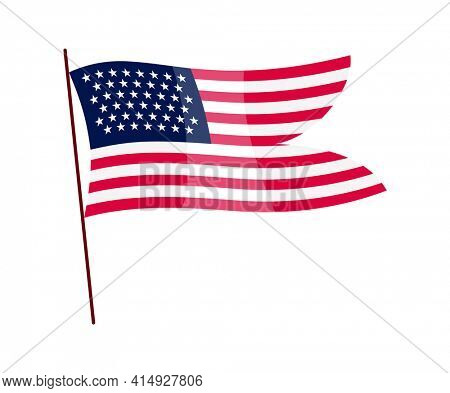 Waving flag. American flag on white background. National flag waving symbol. Banner design element