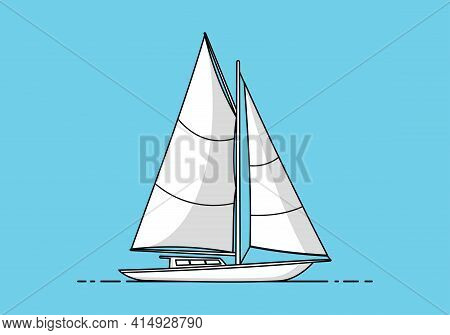 Yacht Sailboat. Sailing Ship Icon Isolated On Blue Background. Sailing Ship Icons For Logo, Web, App