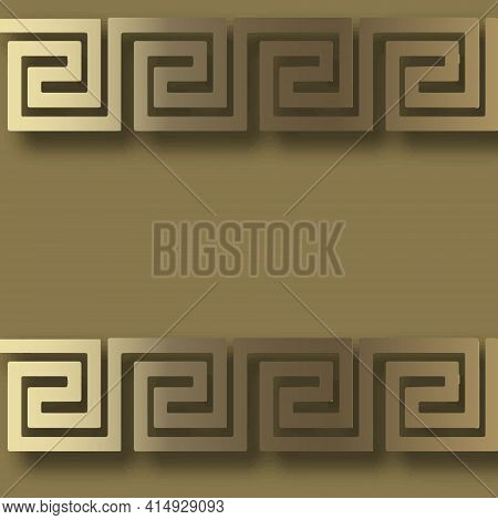 3d Gold Borders Seamless Pattern. Vector Greek Background. Surface Repeat Backdrop. Modern Ornament