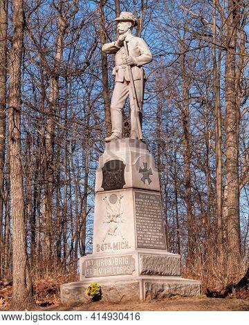 Gettysburg, Pennsylvania, Usa March 14, 2021 The 24th Michigan Volunteer Infantry Regiment Monument