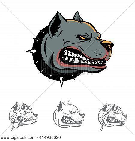 Pitbull Dog Head Symbol Vector Illustration For Esport Emblem, Sticker, Warning Sign, Coloring Or An