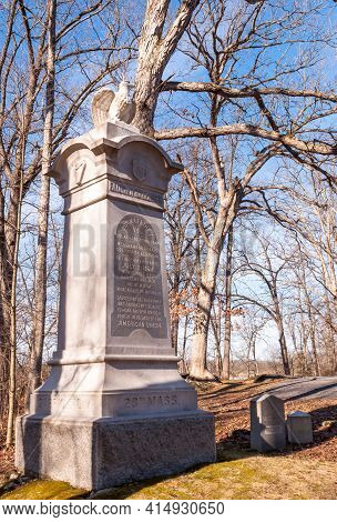 Gettysburg, Pennsylvania, Usa March 14, 2021 The  28th Massachusetts Volunteer Infantry Regiment Mon