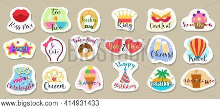 Reminder Stickers Designs. Icons And Text Decor Sticker Elements For Scrapbooking, Cartoon Doodle Pi