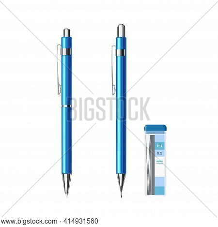 Collection Of Slim Automatic Spring Ballpoint Pen In Blue Metallic Case And Mechanical Pencil With P
