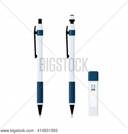 Set Of Automatic Spring Ballpoint Pen In White Plastic Case With Rubber Grip And Mechanical Pencil W