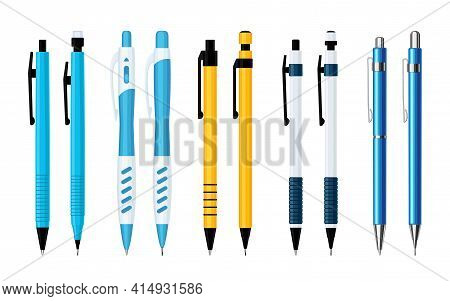 Automatic Spring Ballpoint Pens And Mechanical Pencils Set Of Various Designs. Collection Of Tools F