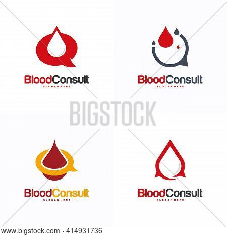 Set Of Blood Consult Logo Designs Concept Vector, Blood Donation Donor Logo Template, Blood And Chat
