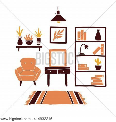 Illustration Of Living Room With Furniture, Chair, House Plant, Lamp, Shelf, Carpet. Simple Trendy F
