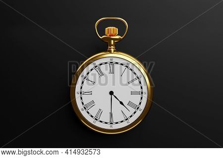 3d Illustration Of Antique Golden Round Clock On Black Isolated Background. Stopwatch Icon, Logo. Ch