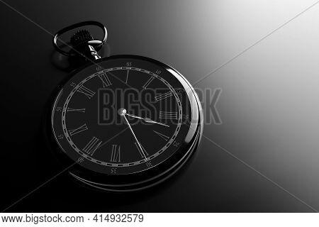 3d Illustration  Of Antique  Black Round Clock On Black Isolated Background. Stopwatch Icon, Logo. C