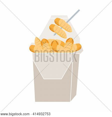 Silkworm Pupa Insects For Eating As Food Deep-fried Crispy Snack And Skewer In Paper Box For Take Ou