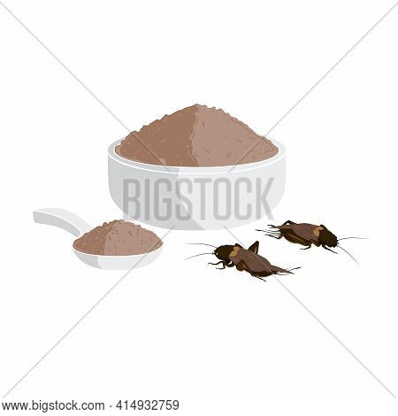 Crickets Powder Or Gryllus Bimaculatus. Insects Powder As Food Edible Processed Made Of Cooked Insec